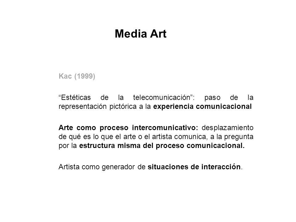 Kac (1999) Estéticas de la telecomunicación: paso de la representación pictórica a la experiencia comunicacional Arte como proceso intercomunicativo: