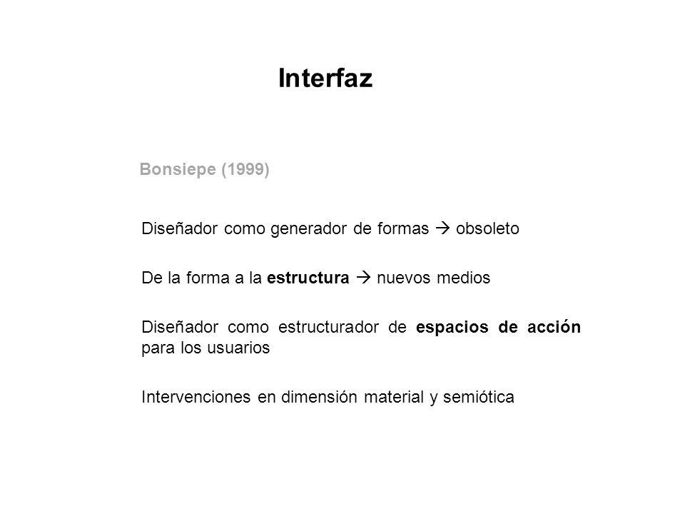 Bonsiepe (1999) Diseñador como generador de formas obsoleto De la forma a la estructura nuevos medios Diseñador como estructurador de espacios de acci