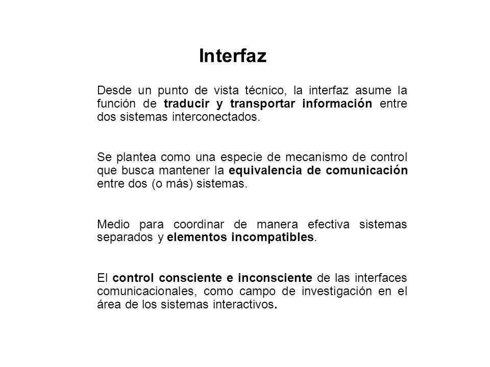 Desde un punto de vista técnico, la interfaz asume la función de traducir y transportar información entre dos sistemas interconectados. Se plantea com