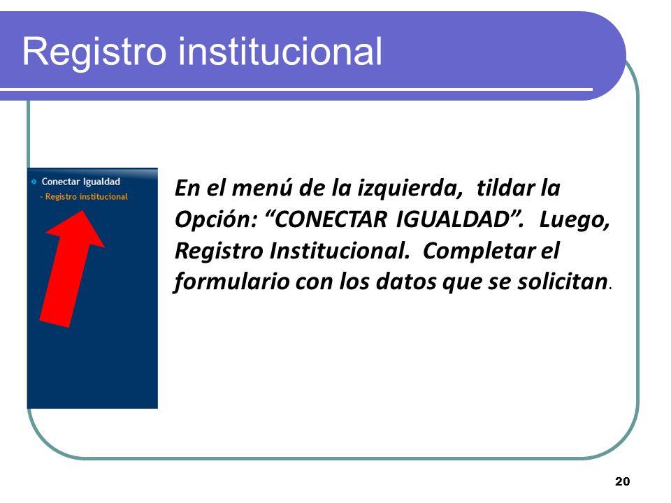 Registro institucional En el menú de la izquierda, tildar la Opción: CONECTAR IGUALDAD.