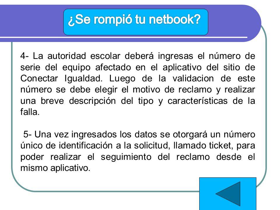 4- La autoridad escolar deberá ingresas el número de serie del equipo afectado en el aplicativo del sitio de Conectar Igualdad.
