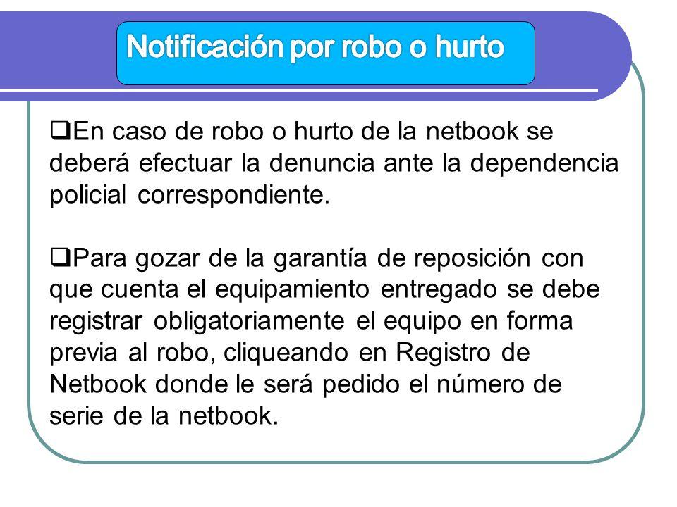 En caso de robo o hurto de la netbook se deberá efectuar la denuncia ante la dependencia policial correspondiente.