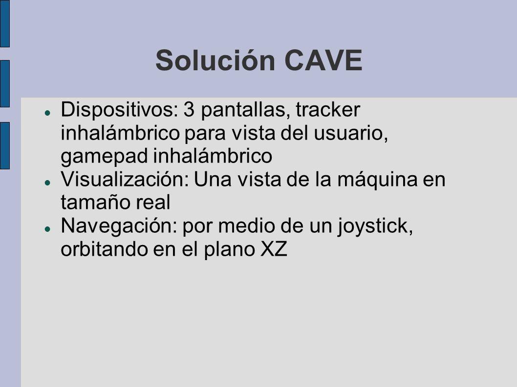 Solución CAVE Dispositivos: 3 pantallas, tracker inhalámbrico para vista del usuario, gamepad inhalámbrico Visualización: Una vista de la máquina en tamaño real Navegación: por medio de un joystick, orbitando en el plano XZ