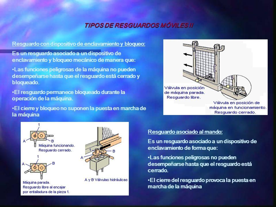 TIPOS DE RESGUARDOS MÓVILES II Resguardo con dispositivo de enclavamiento y bloqueo: Es un resguardo asociado a un dispositivo de enclavamiento y bloq