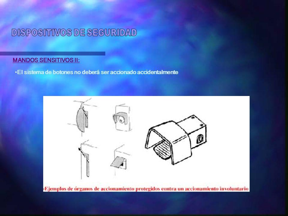 MANDOS SENSITIVOS II: El sistema de botones no deberá ser accionado accidentalmente