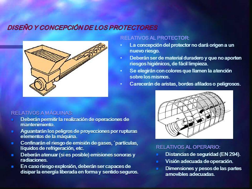 RELATIVOS A MÁQUINAS: n Deberán permitir la realización de operaciones de mantenimiento. n Aguantarán los peligros de proyecciones por rupturas elemen