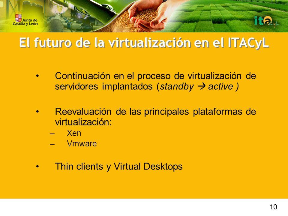 El futuro de la virtualización en el ITACyL Continuación en el proceso de virtualización de servidores implantados (standby active ) Reevaluación de las principales plataformas de virtualización: –Xen –Vmware Thin clients y Virtual Desktops 10
