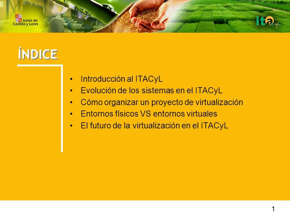 ÍNDICE Introducción al ITACyL Evolución de los sistemas en el ITACyL Cómo organizar un proyecto de virtualización Entornos físicos VS entornos virtuales El futuro de la virtualización en el ITACyL 1