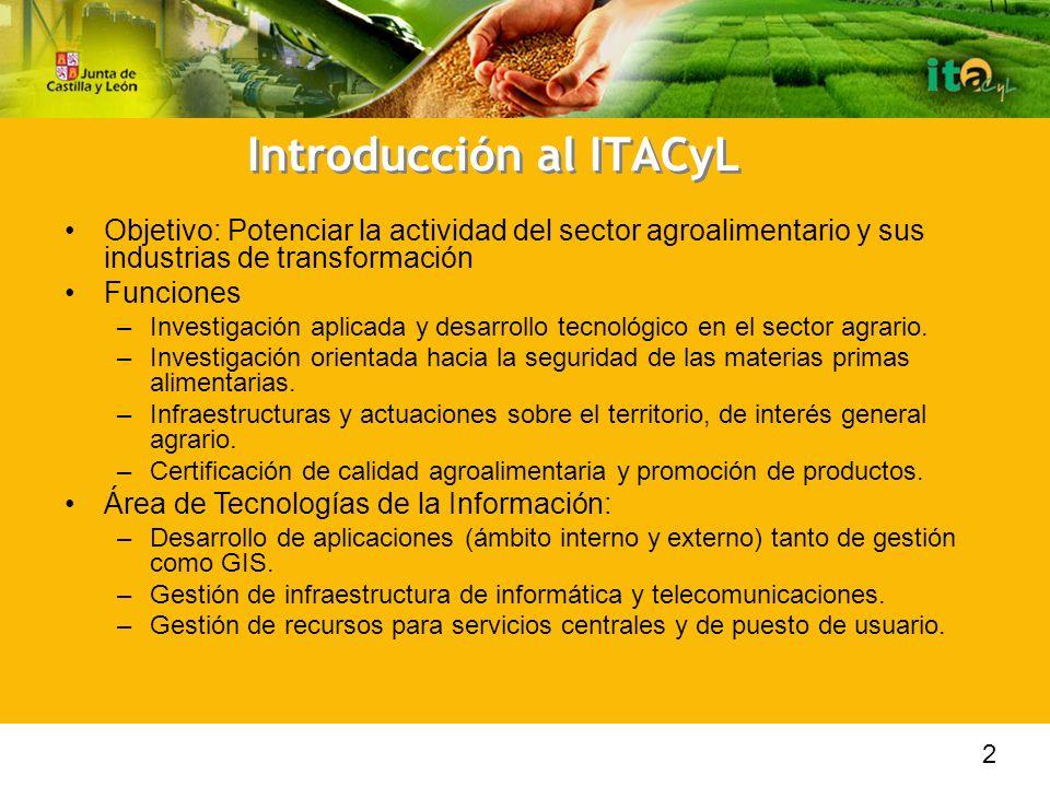 Introducción al ITACyL Objetivo: Potenciar la actividad del sector agroalimentario y sus industrias de transformación Funciones –Investigación aplicada y desarrollo tecnológico en el sector agrario.