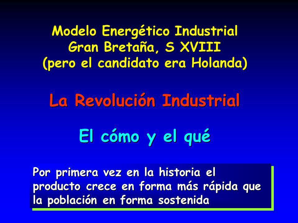 16 Modelo Energético Industrial Gran Bretaña, S XVIII (pero el candidato era Holanda) La Revolución Industrial El cómo y el qué Por primera vez en la historia el producto crece en forma más rápida que la población en forma sostenida
