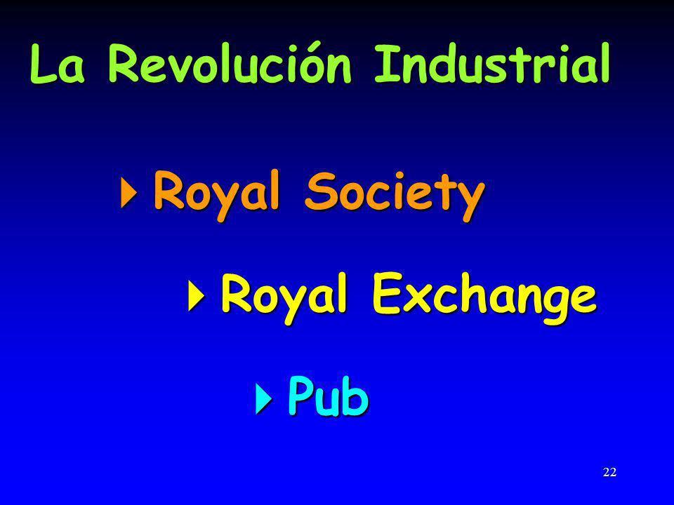22 La Revolución Industrial Royal Society Royal Society Royal Exchange Royal Exchange Pub Pub