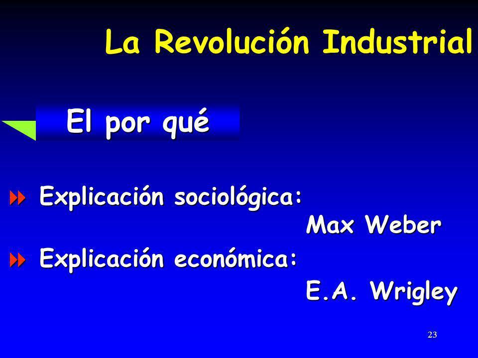 23 La Revolución Industrial El por qué El por qué Explicación sociológica: Explicación sociológica: Max Weber Max Weber Explicación económica: Explicación económica: E.A.