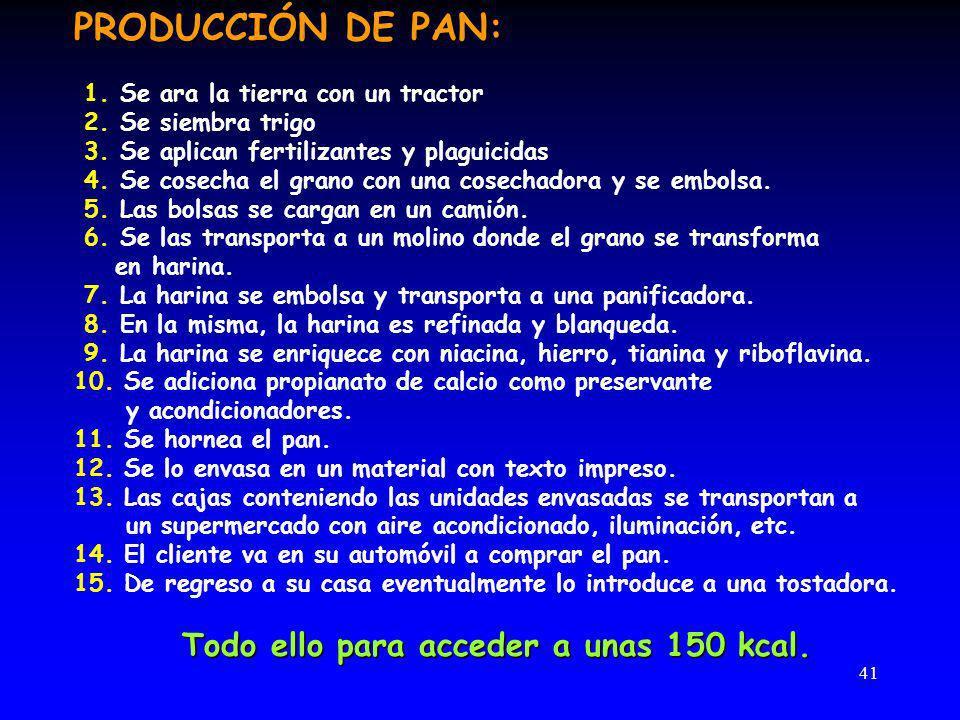41 PRODUCCIÓN DE PAN: 1.Se ara la tierra con un tractor 2.