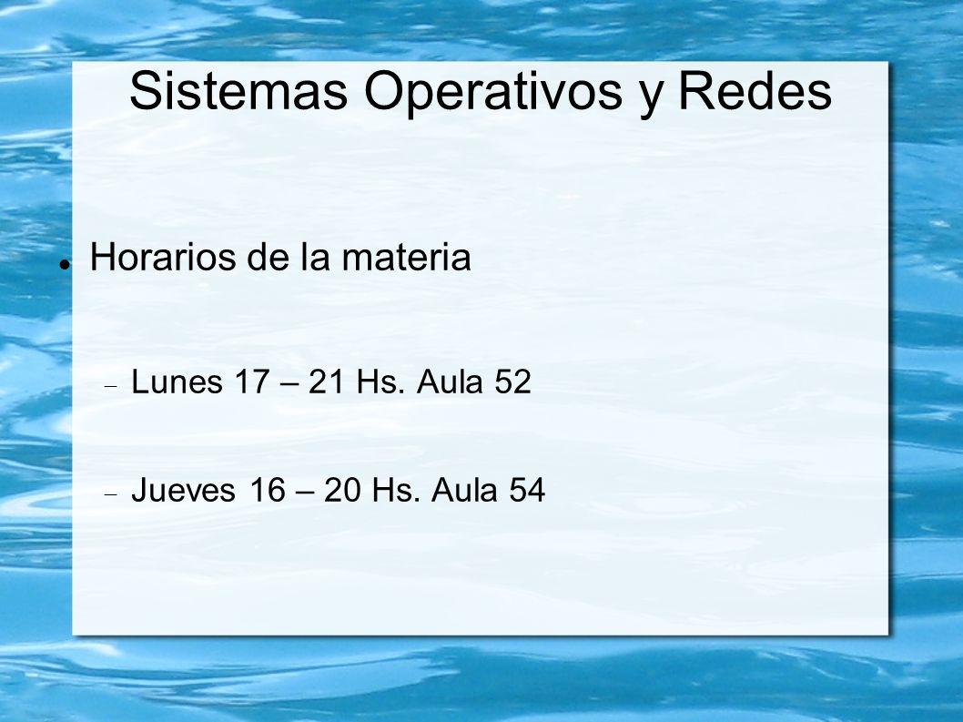 Sistemas Operativos y Redes Horarios de la materia Lunes 17 – 21 Hs.