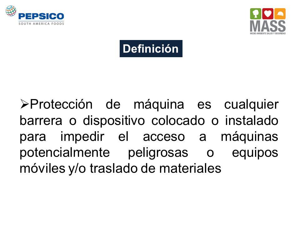 Definición Protección de máquina es cualquier barrera o dispositivo colocado o instalado para impedir el acceso a máquinas potencialmente peligrosas o