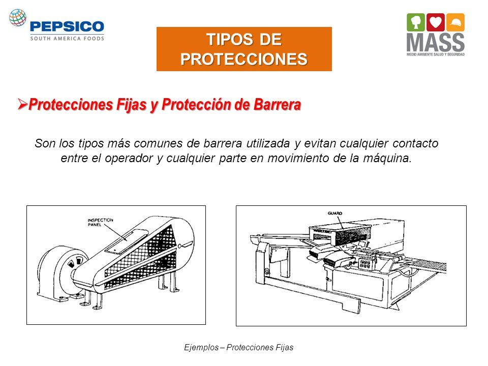 TIPOS DE PROTECCIONES Protecciones Fijas y Protección de Barrera Protecciones Fijas y Protección de Barrera Son los tipos más comunes de barrera utili