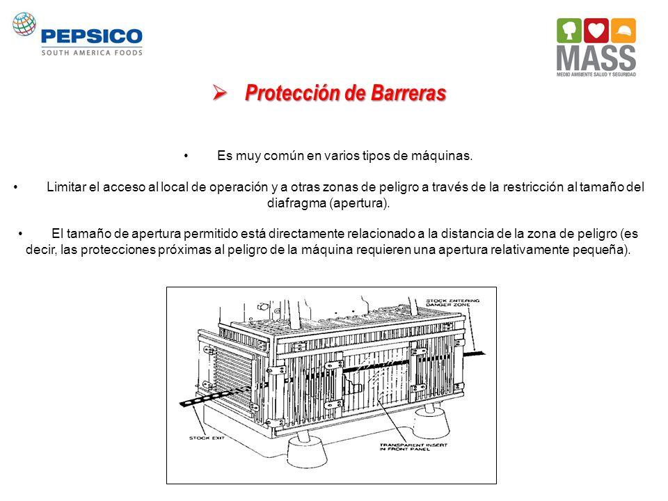 Protección de Barreras Protección de Barreras Es muy común en varios tipos de máquinas. Limitar el acceso al local de operación y a otras zonas de pel