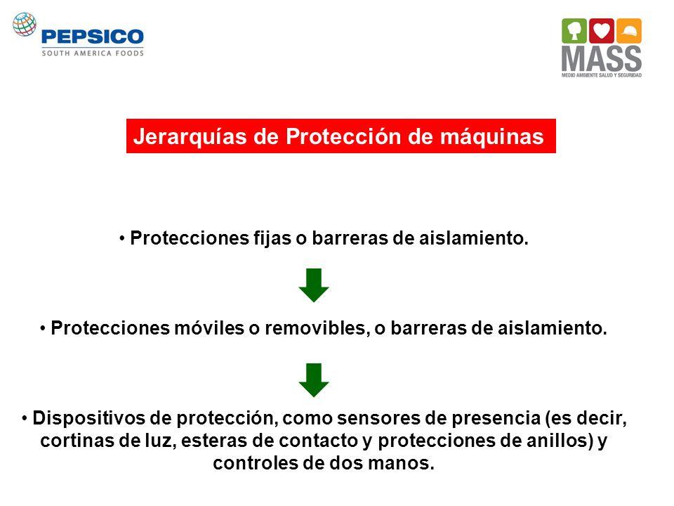 Protecciones fijas o barreras de aislamiento. Protecciones móviles o removibles, o barreras de aislamiento. Dispositivos de protección, como sensores