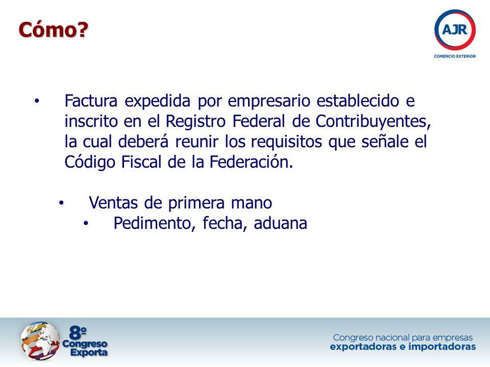 Factura expedida por empresario establecido e inscrito en el Registro Federal de Contribuyentes, la cual deberá reunir los requisitos que señale el Có