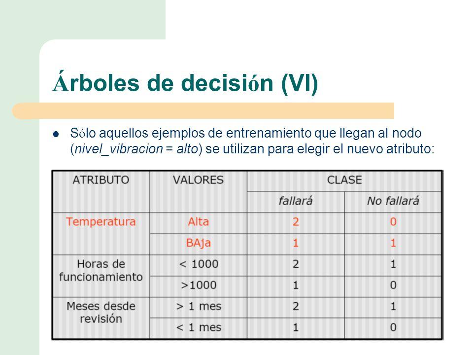 Á rboles de decisi ó n (VI) S ó lo aquellos ejemplos de entrenamiento que llegan al nodo (nivel_vibracion = alto) se utilizan para elegir el nuevo atributo: