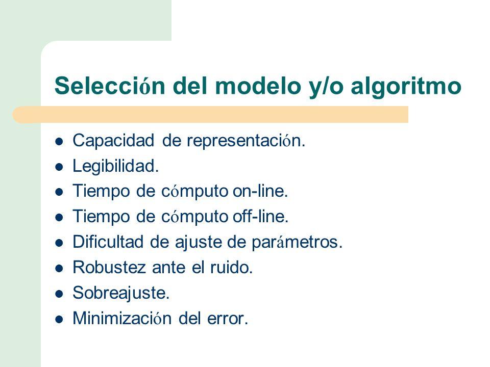Selecci ó n del modelo y/o algoritmo Capacidad de representaci ó n.