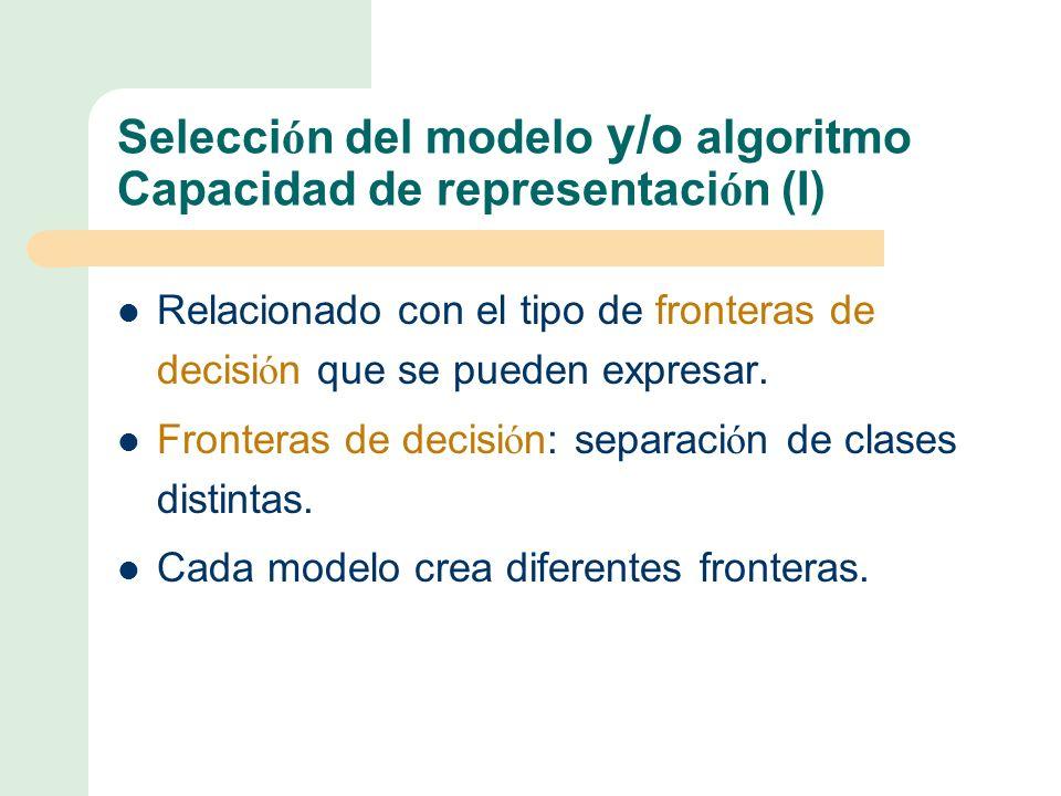 Selecci ó n del modelo y/o algoritmo Capacidad de representaci ó n (I) Relacionado con el tipo de fronteras de decisi ó n que se pueden expresar.