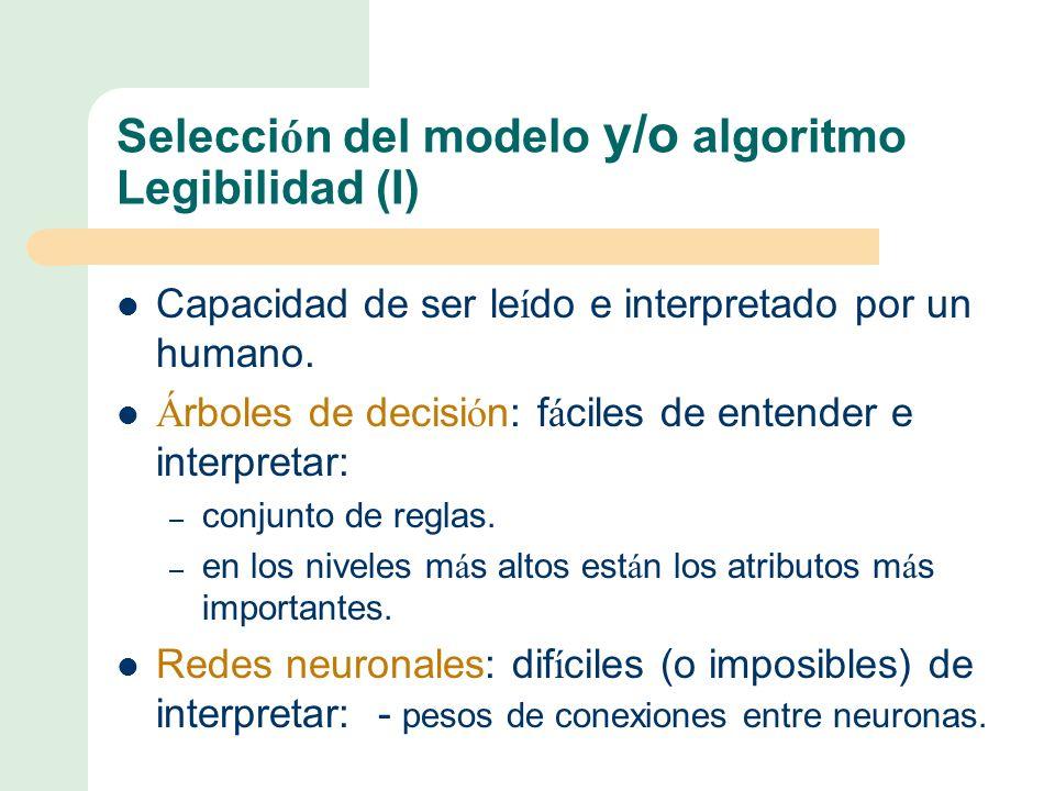 Selecci ó n del modelo y/o algoritmo Legibilidad (I) Capacidad de ser le í do e interpretado por un humano.