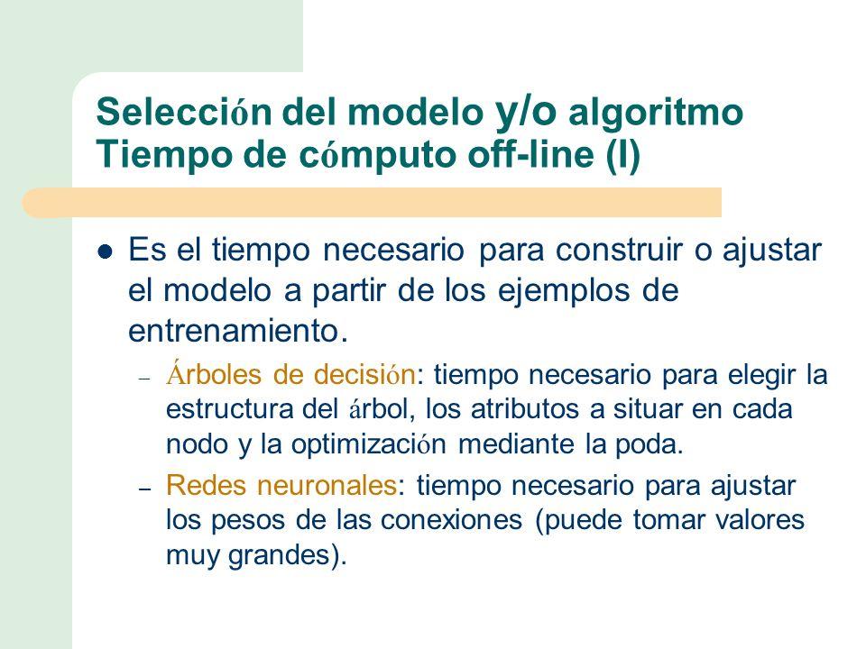 Selecci ó n del modelo y/o algoritmo Tiempo de c ó mputo off-line (I) Es el tiempo necesario para construir o ajustar el modelo a partir de los ejemplos de entrenamiento.