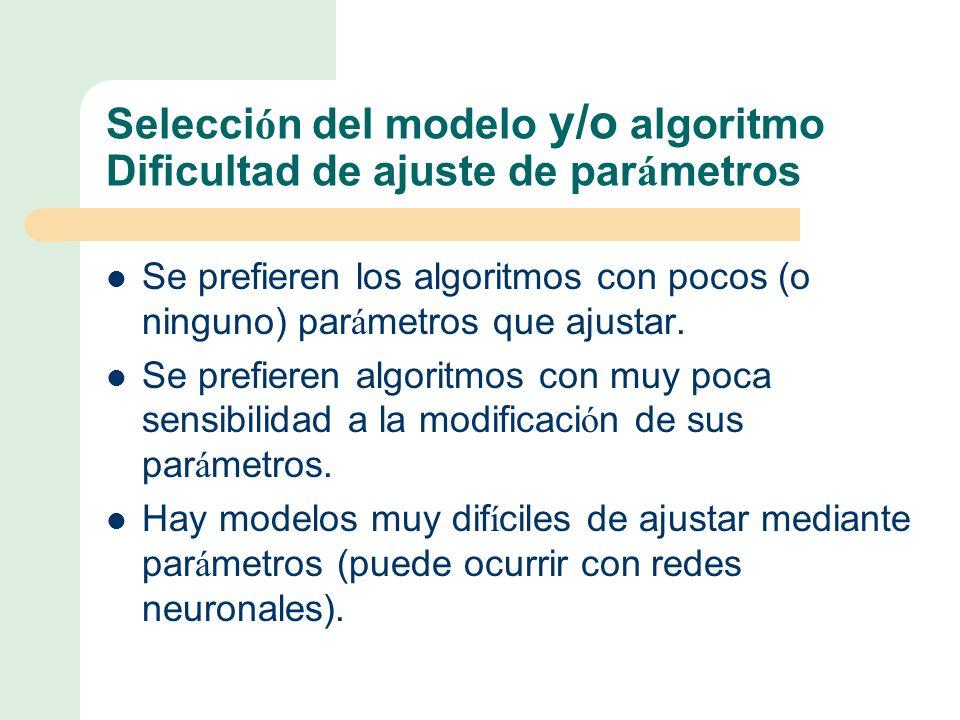 Selecci ó n del modelo y/o algoritmo Dificultad de ajuste de par á metros Se prefieren los algoritmos con pocos (o ninguno) par á metros que ajustar.