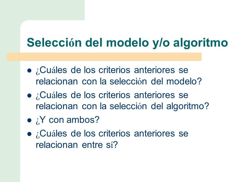Selecci ó n del modelo y/o algoritmo ¿ Cu á les de los criterios anteriores se relacionan con la selecci ó n del modelo.
