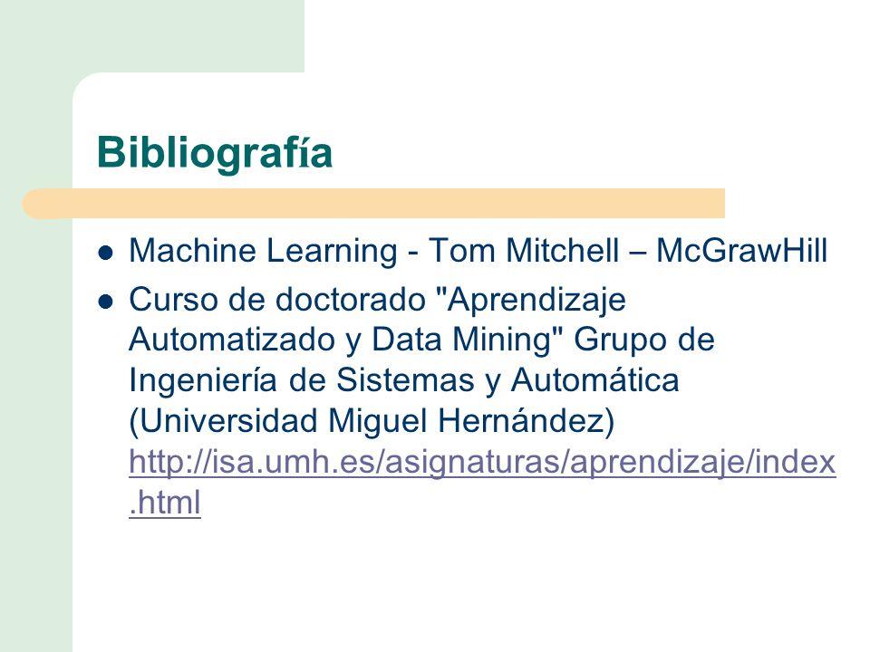 Bibliograf í a Machine Learning - Tom Mitchell – McGrawHill Curso de doctorado Aprendizaje Automatizado y Data Mining Grupo de Ingeniería de Sistemas y Automática (Universidad Miguel Hernández) http://isa.umh.es/asignaturas/aprendizaje/index.html http://isa.umh.es/asignaturas/aprendizaje/index.html
