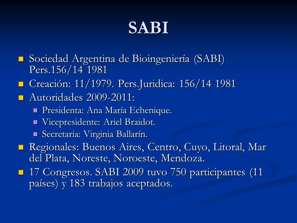 SABI Sociedad Argentina de Bioingeniería (SABI) Pers.156/14 1981 Sociedad Argentina de Bioingeniería (SABI) Pers.156/14 1981 Creación: 11/1979. Pers.J