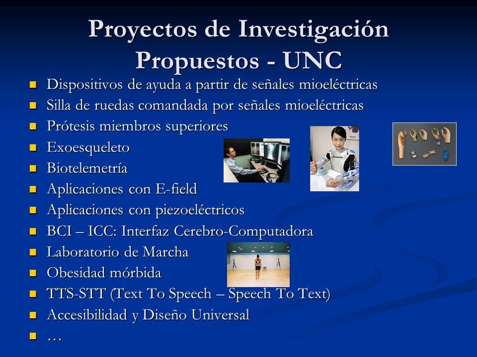 Proyectos de Investigación Propuestos - UNC Dispositivos de ayuda a partir de señales mioeléctricas Dispositivos de ayuda a partir de señales mioeléct