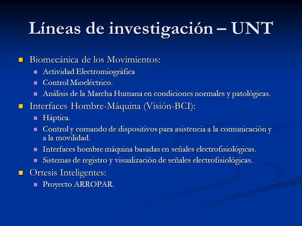 Líneas de investigación – UNT Biomecánica de los Movimientos: Biomecánica de los Movimientos: Actividad Electromiográfíca Actividad Electromiográfíca