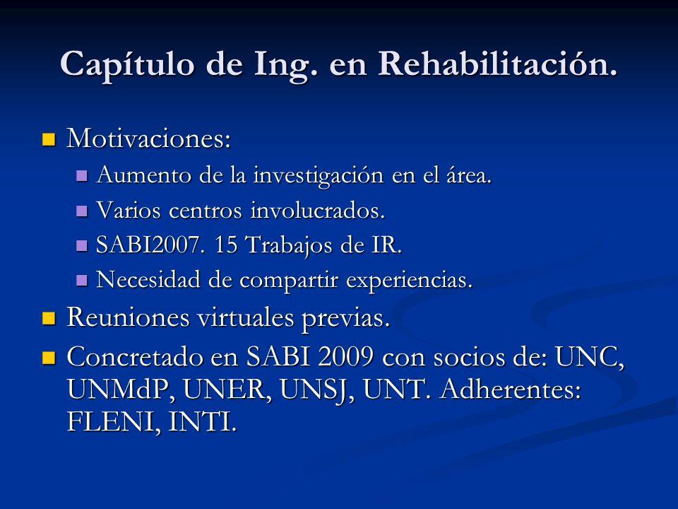 Capítulo de Ing. en Rehabilitación. Motivaciones: Motivaciones: Aumento de la investigación en el área. Aumento de la investigación en el área. Varios
