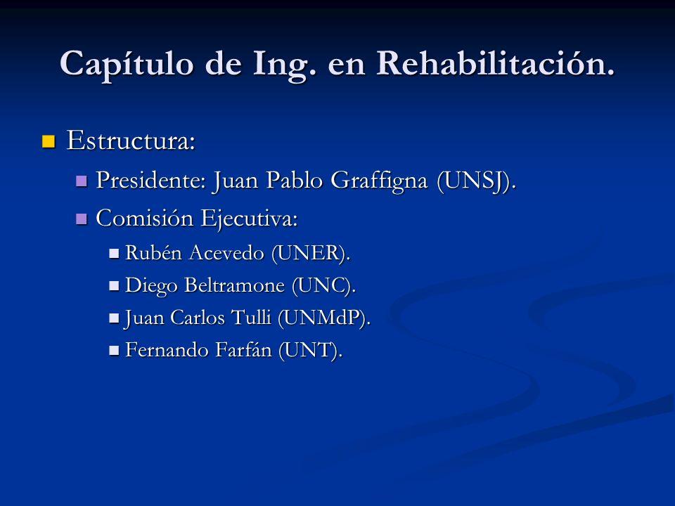 Capítulo de Ing. en Rehabilitación. Estructura: Estructura: Presidente: Juan Pablo Graffigna (UNSJ). Presidente: Juan Pablo Graffigna (UNSJ). Comisión