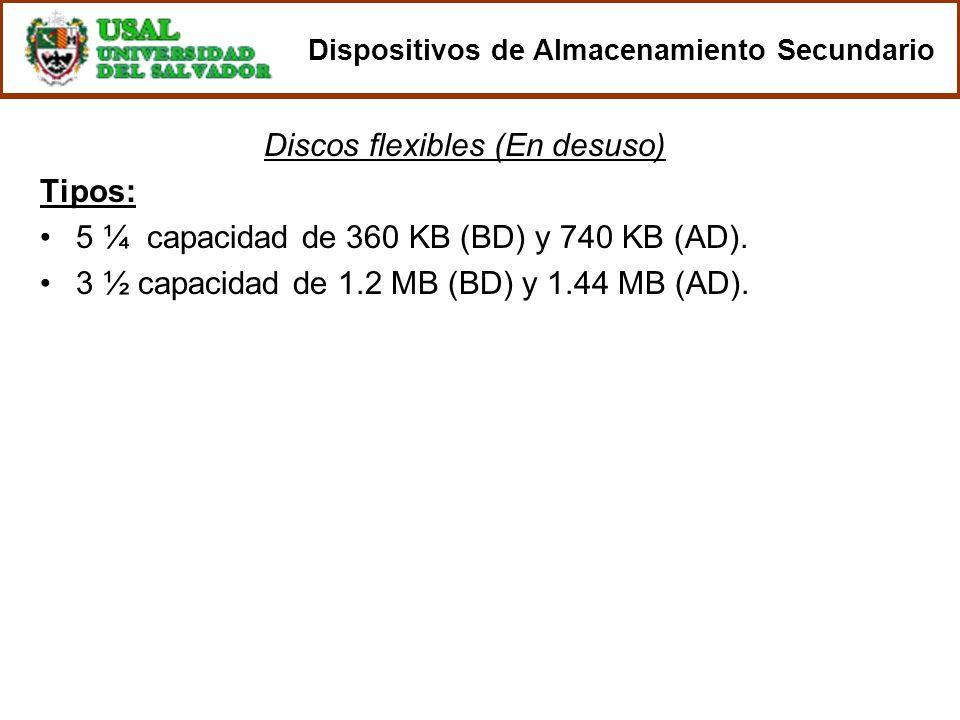 Discos flexibles (En desuso) Tipos: 5 ¼ capacidad de 360 KB (BD) y 740 KB (AD). 3 ½ capacidad de 1.2 MB (BD) y 1.44 MB (AD). Dispositivos de Almacenam