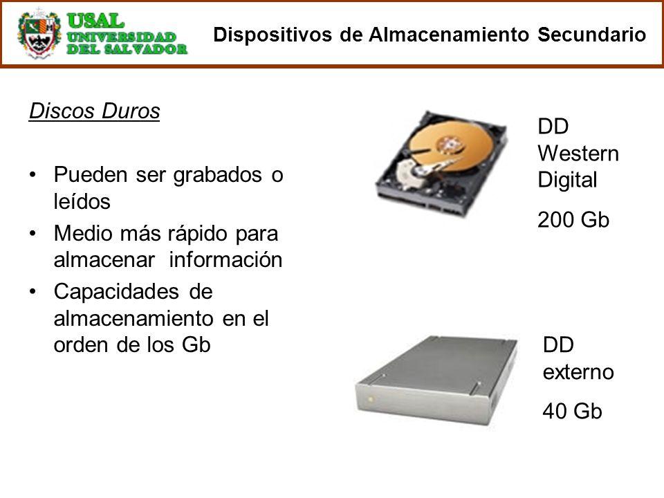Discos Duros Pueden ser grabados o leídos Medio más rápido para almacenar información Capacidades de almacenamiento en el orden de los Gb DD Western D