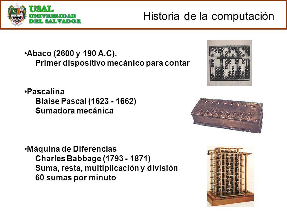 Abaco (2600 y 190 A.C). Primer dispositivo mecánico para contar Pascalina Blaise Pascal (1623 - 1662) Sumadora mecánica Máquina de Diferencias Charles