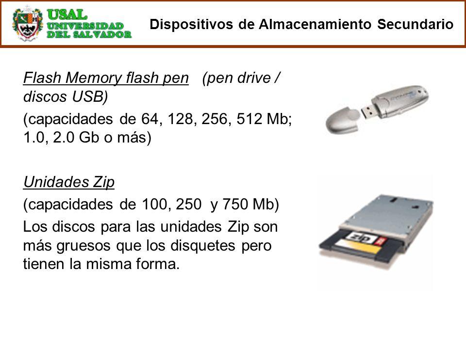Flash Memory flash pen (pen drive / discos USB) (capacidades de 64, 128, 256, 512 Mb; 1.0, 2.0 Gb o más) Unidades Zip (capacidades de 100, 250 y 750 M