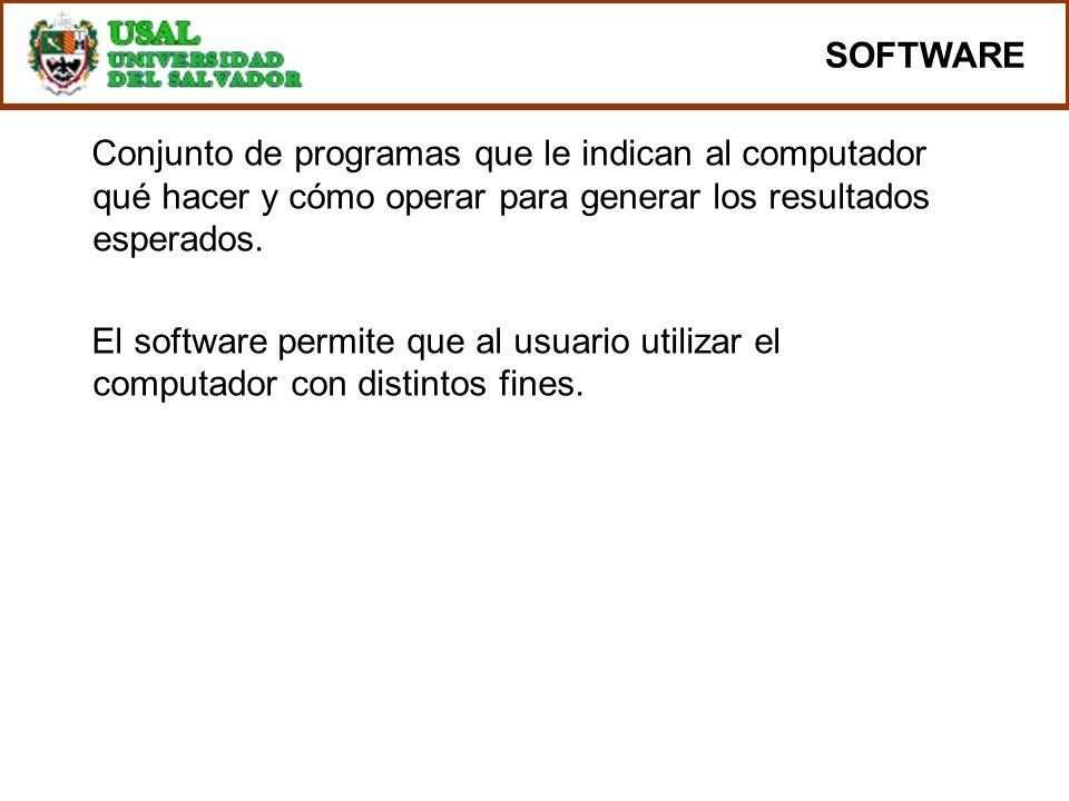 SOFTWARE Conjunto de programas que le indican al computador qué hacer y cómo operar para generar los resultados esperados. El software permite que al
