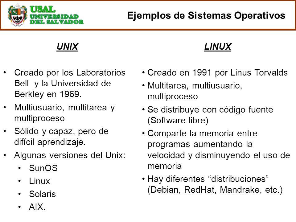 UNIX Creado por los Laboratorios Bell y la Universidad de Berkley en 1969. Multiusuario, multitarea y multiproceso Sólido y capaz, pero de difícil apr