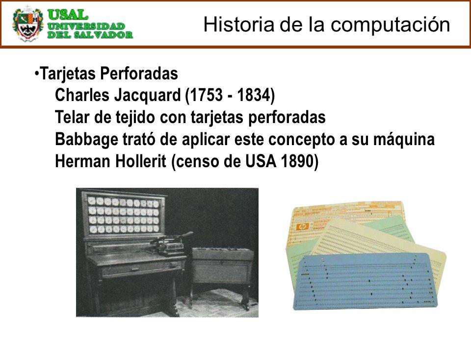 Tarjetas Perforadas Charles Jacquard (1753 - 1834) Telar de tejido con tarjetas perforadas Babbage trató de aplicar este concepto a su máquina Herman