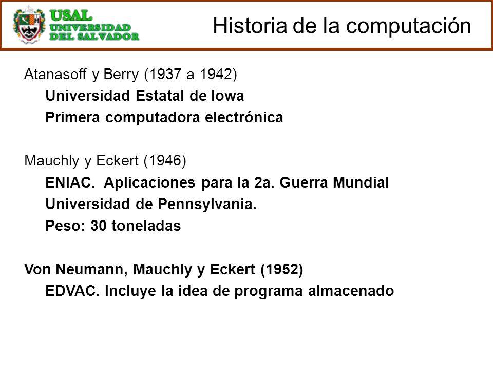Atanasoff y Berry (1937 a 1942) Universidad Estatal de Iowa Primera computadora electrónica Mauchly y Eckert (1946) ENIAC. Aplicaciones para la 2a. Gu