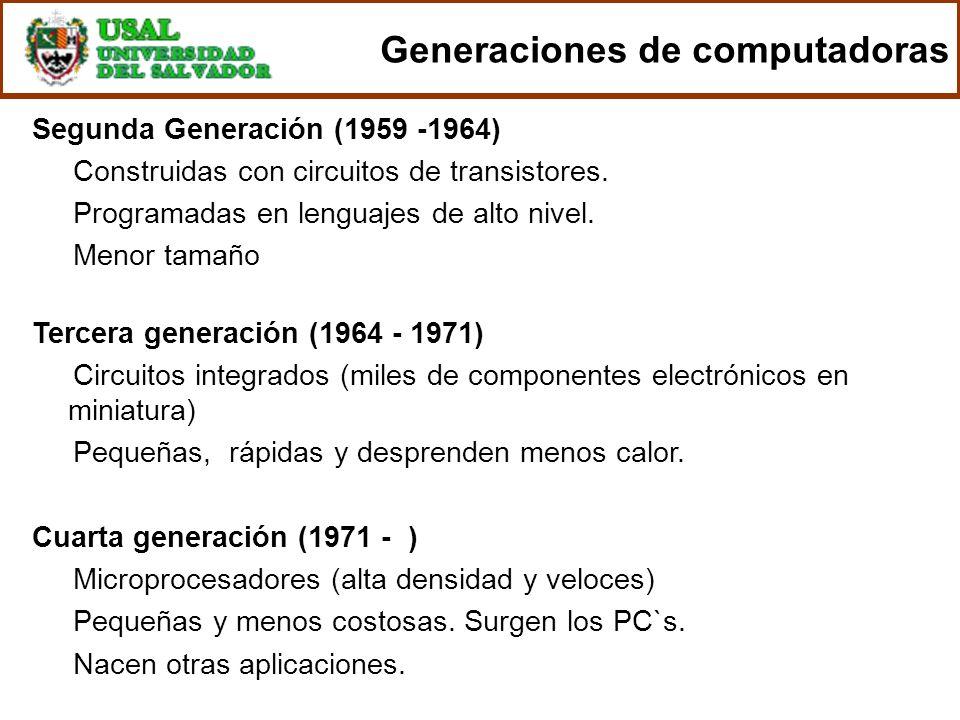 Segunda Generación (1959 -1964) Construidas con circuitos de transistores. Programadas en lenguajes de alto nivel. Menor tamaño Tercera generación (19