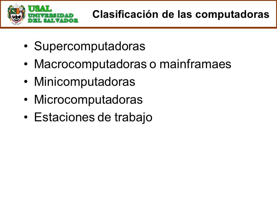 Clasificación de las computadoras Supercomputadoras Macrocomputadoras o mainframaes Minicomputadoras Microcomputadoras Estaciones de trabajo
