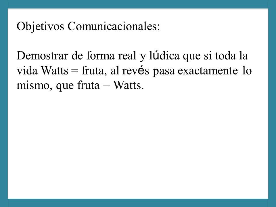 Objetivos Comunicacionales: Demostrar de forma real y l ú dica que si toda la vida Watts = fruta, al rev é s pasa exactamente lo mismo, que fruta = Watts.