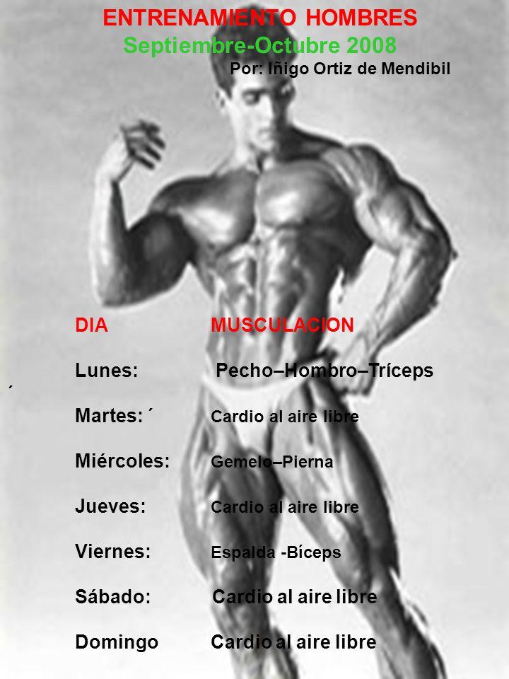 ENTRENAMIENTO HOMBRES Septiembre-Octubre 2008 Por: Iñigo Ortiz de Mendibil DIAMUSCULACION Lunes: Pecho–Hombro–Tríceps ´ Martes: ´ Cardio al aire libre