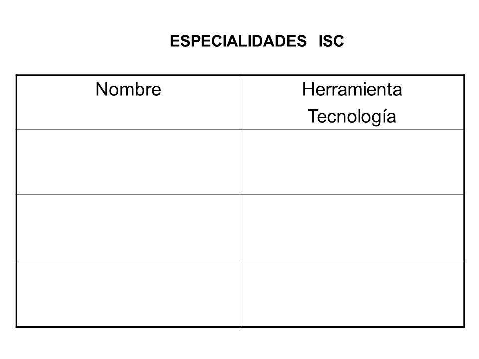ESPECIALIDADES ISC NombreHerramienta Tecnología