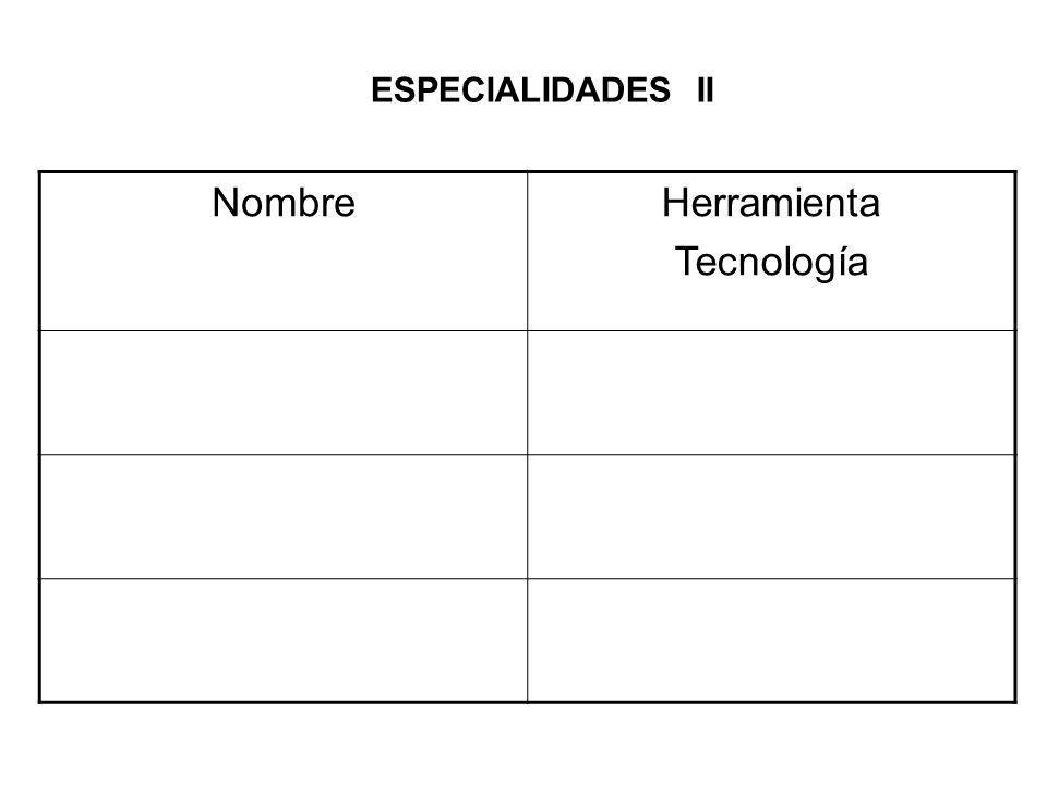 ESPECIALIDADES II NombreHerramienta Tecnología